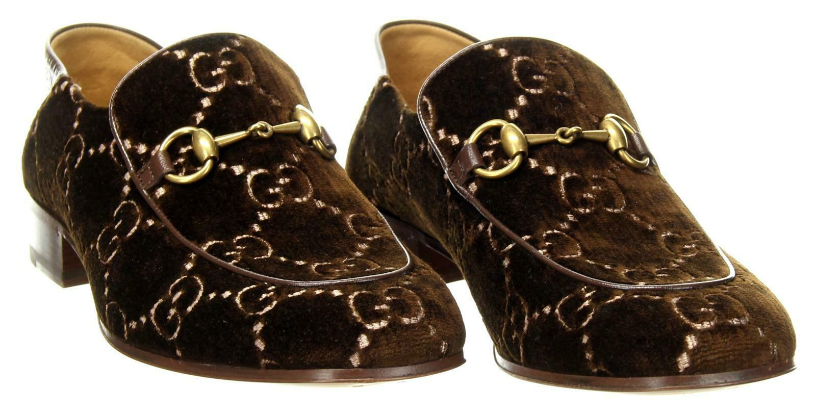 ee6a5c4f3bc Gucci Men s Quentin Horsebit Buckle Velvet Loafers Shoes Brown US 8 Gucci  Size 7