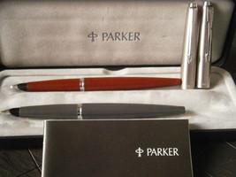 PARKER 45 SET 2 PENNE STILOGRAFICHE GRIGIA E ROSSA 1980 + SCATOLA Founta... - $50.42