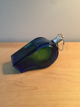 70s Avon Blue Whistle with silver ring after shave bottle (Spicy After Shave) image 2