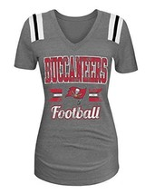 NFL Ladies Tri- Blend Short Sleeve V-Neck Tee with Team Color Shoulder Inserts L