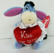 Disney Store Valentine Eeyore Plush Kiss Me Now Heart Pooh 5 Inch Lights Up New - $12.61