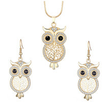 Fashion Crystal Tree of Life Owl Necklace Earrings Set for Women Silver ... - $14.81