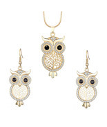 Fashion Crystal Tree of Life Owl Necklace Earrings Set for Women Silver ... - £12.10 GBP