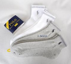 POLO RALPH LAUREN Men's QTR CUT Socks 4 Pairs White/Grey Size 10-13 - New! - $19.95
