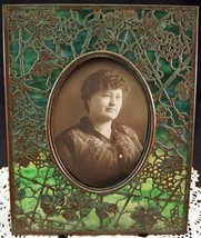 Antique Tiffany Studios Bronze & Slag Green Glass Grapevine Picture Frame - $1,950.00