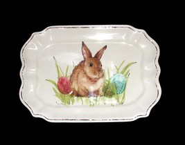 "Well Dressed Home Brn Bunny Scalloped Border Melamine Serving 15.5"" Plat... - $37.99"