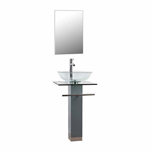 Goodyo pedestal sink gyg10g 18 inches small mdf bathroom - Small bathroom sink and vanity combo ...