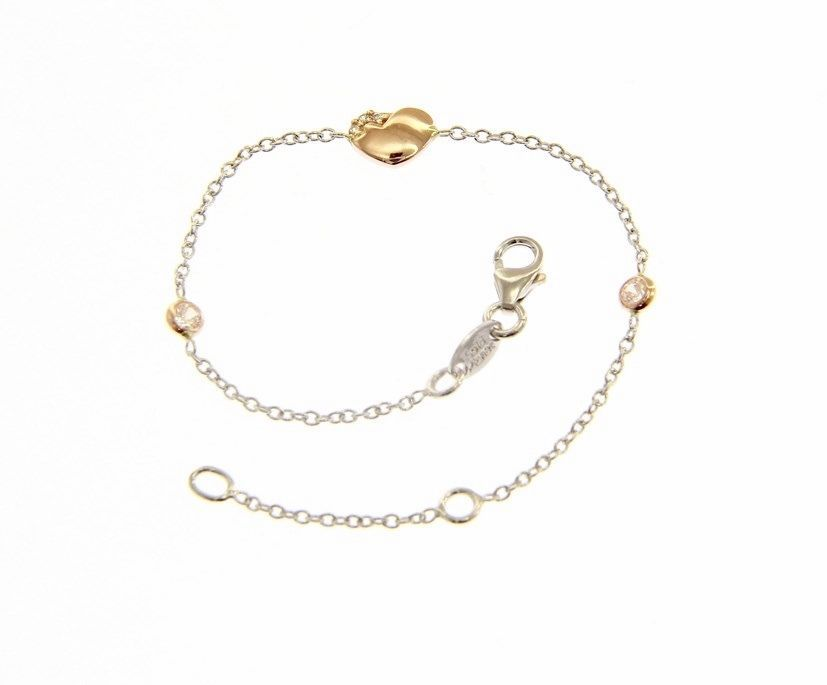 18 KT ROSE & WHITE GOLD BRACELET FOR KIDS WITH HEART AND ZIRCONIA MADE IN ITALY