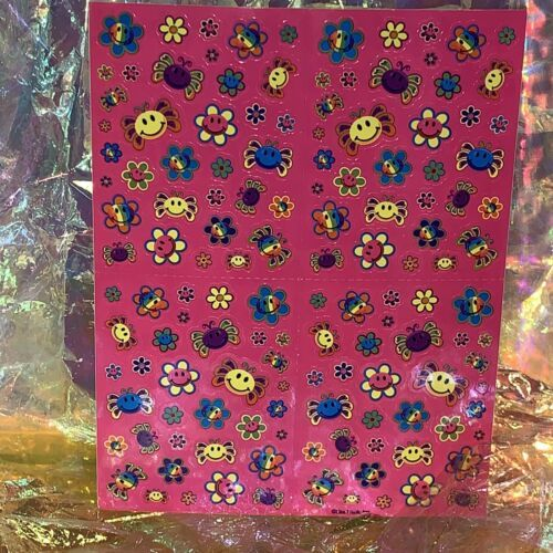 Lisa Frank Vintage 90s Mini Happy Face Smile Flowers Complete Sticker Sheet S757