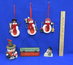 3 Snowman Picture Ornaments 2 Resin Snowman Figurines Hanging Sign Plaqu... - $14.84