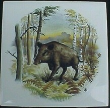 Ceramic Tile W/ Wild Boar #3 Wildlife - $6.75