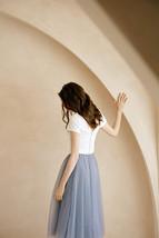 Rose Pink Gray White Tulle Midi Skirt High Waisted Tulle Bridesmaid Midi Skirt image 5