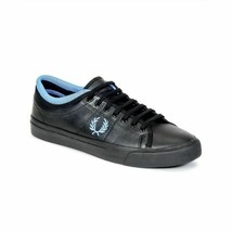 Fred Perry Mens Soho Kendrick Tipped Cuff Leather Shoes Black Trainers B... - $77.75