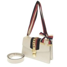 GUCCI Sylvie Leather White Bow Ribbon 2Way Shoulder Bag 421882 Italy Aut... - $1,528.90