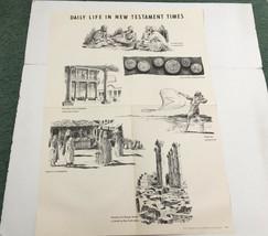 vintage bible school Sunday school poster daily life inn new testament t... - $13.86