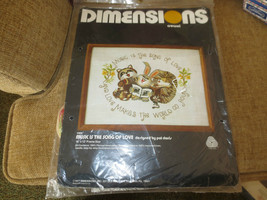 1977 Dimensions MUSIC IS THE SONG OF LOVE Crewel Embroidery SEALED Kit -... - $14.85