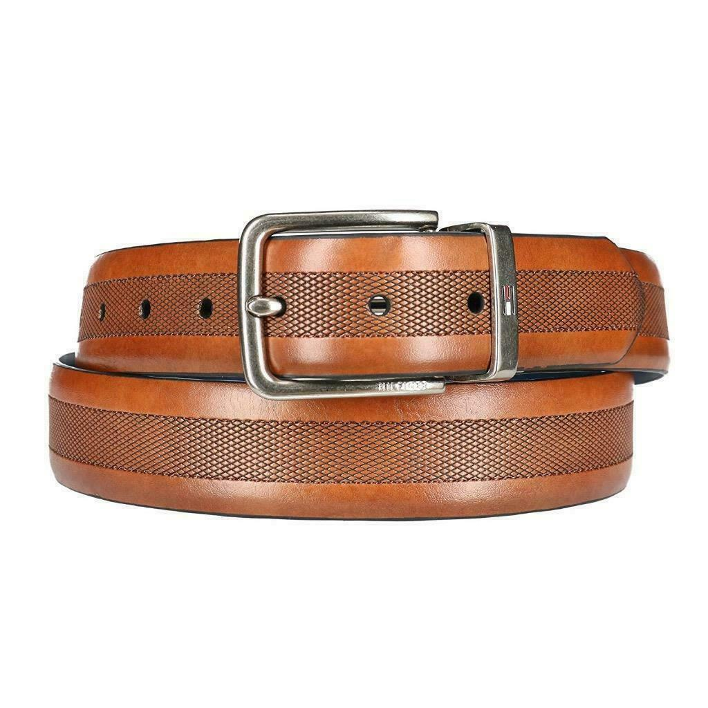 Tommy Hilfiger Men's Reversible Embossed Center Leather Belt Tan/Blue 11TL01X050