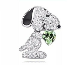 Crystal Snoopy Dog Peridot Heart Brooch Pin 18K White Gold Plated - $16.71