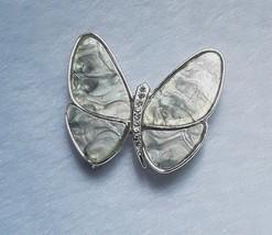 Vintage Butterfly Moth Abalone Rhinestone Silver Tone Brooch Pin EUC - $9.49