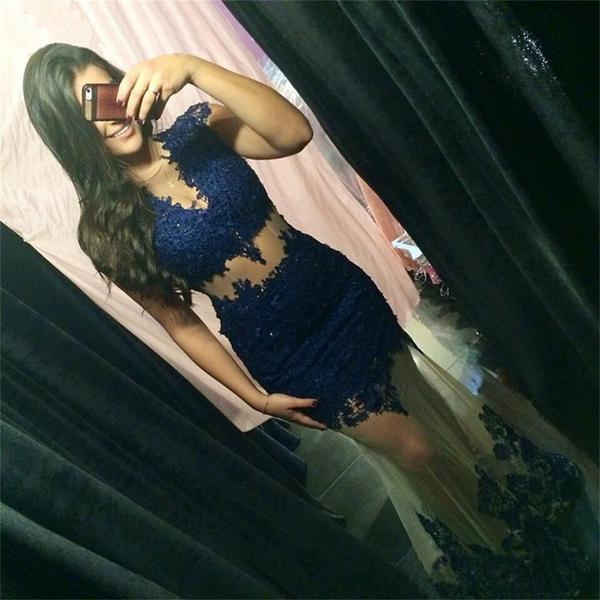 Blue lace long sexy see through mermaid fashion formal party prom dress  pd0243
