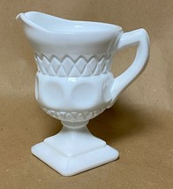 "McKee Milk Glass Plymouth Thumbprint Creamer Square Base 1950""s MCM Retro - $8.90"