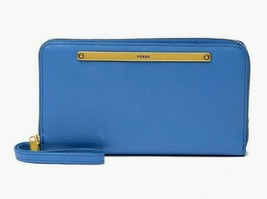 New Fossil Women's Liza Zip-Around Clutch Wallet Crystal Blue - $68.30