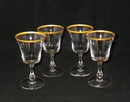 Fostoria Richmond Gold Rimmed Crystal Wine Glasses Goblets (4)  - $40.00