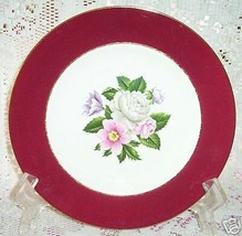 Homer Laughlin Cavalier Margaret Rose Bread Plate S Floral Red - $9.88