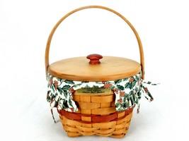 Longaberger Jingle Bells Basket w/Insert & Lid, 8x8, 1994 Christmas Coll... - $48.95