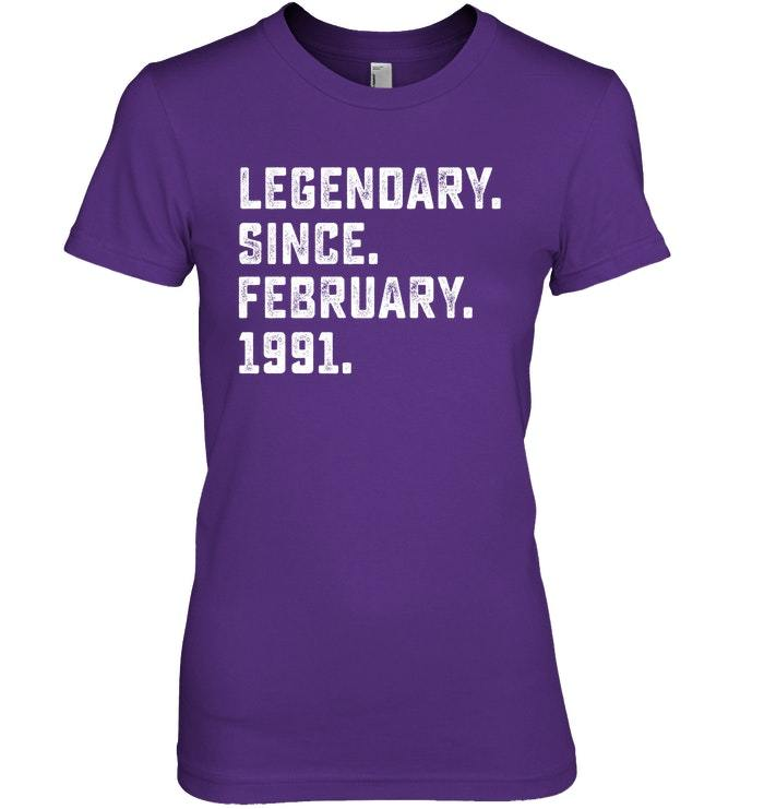 Legendary Since February 1991 27th Years Old Birthday Shirt