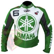 YAMAHA 6 GREEN MOTORCYCLE MOTORBIKE BIKERS ARMOURED COWHIDE LEATHER JACKET - $194.99
