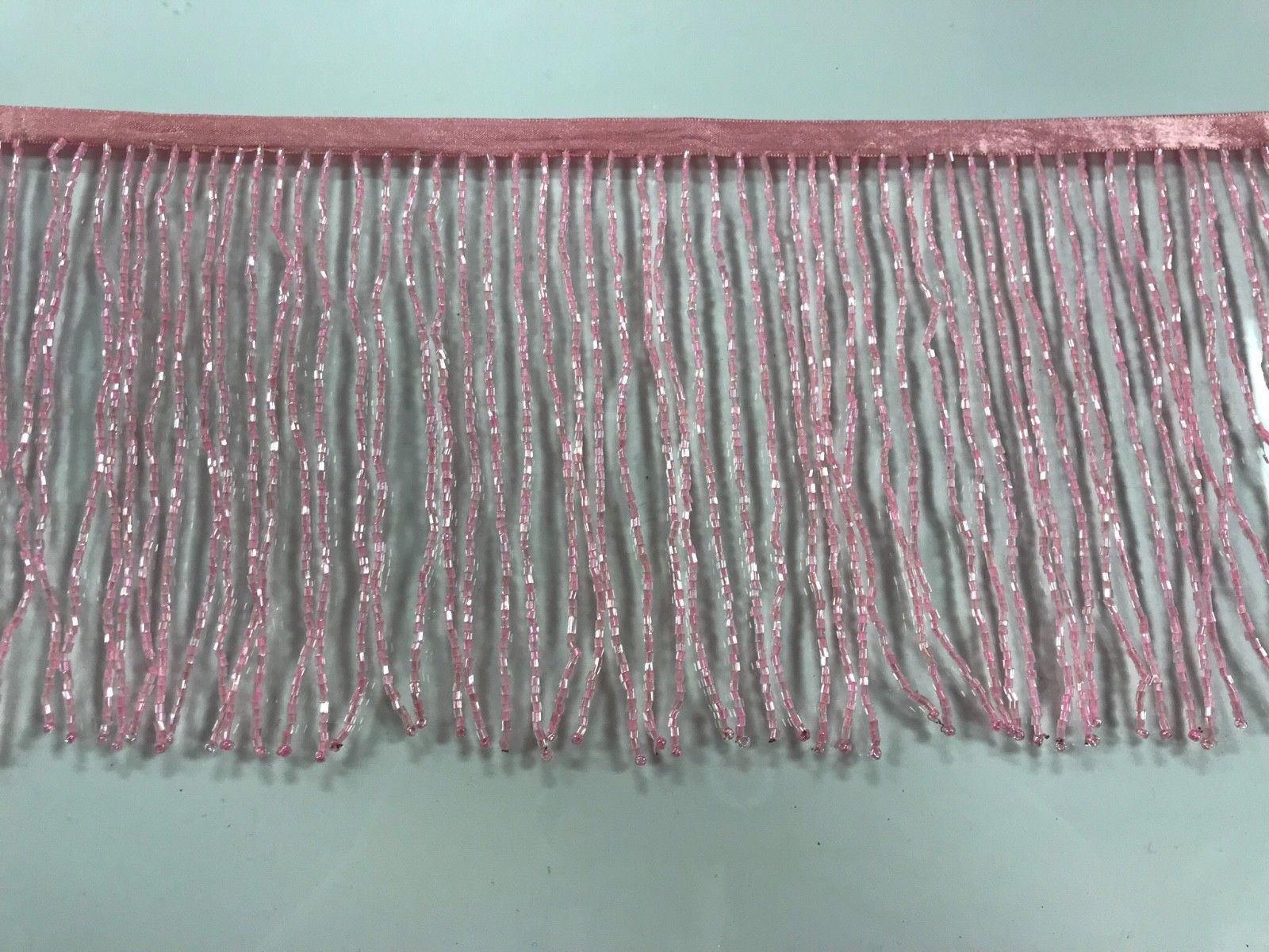 """By the Yard-6/"""" Glass SILVER//BUGLE Seed Beaded Fringe Lamp Costume Trim Crafts"""