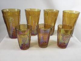 Carnival Glass Indiana Harvest Grape 4 Water Tumbler 3 Juice Glasses - $78.21