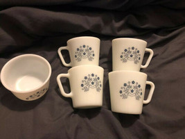 "4 Vintage Pyrex Milk Glass ""Summer Impressions"" Blue Flower Coffee Cups ... - $18.76"