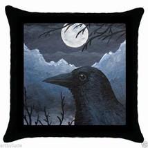 Throw Pillow Case Cushion Cover black Bird 58 crow raven moon blue by L.Dumas - $20.99