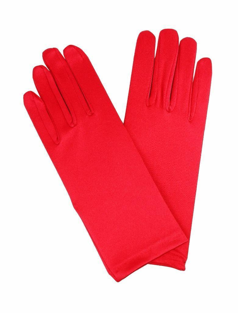 NEW WOMEN'S LEG AVENUE FORMAL SATIN SHORT DRESS GLOVES RED 2B ONE SIZE