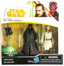 Star Wars Darth Maul and Qui-Gon Jinn 2 Pack Force Link 2.0 Figures - $11.26