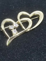 Gold Tone Double Heart Pin With Rhinestones Vintage Brooch - $15.29