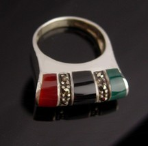 Signed Modernist Ring - Size 7 sterling silver - Scottish marcasite jewe... - $145.00
