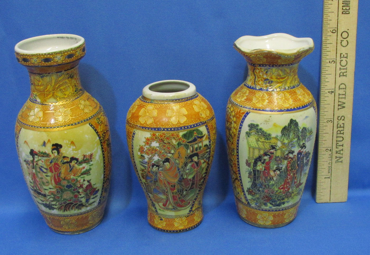 Set of 3 Vintage Asian Oriental Porcelain Vases Intricately Hand Painted