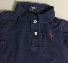 1de5247da Polo Ralph Lauren Boys Long Sleeve Polo Shirt Solid Blue 100% Cotton Sz 5 -