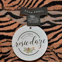 Sans Souci Women's Orange & Black Tiger Animal Print Slit Midi Skirt Size S image 3