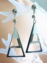 """Mid Century Modern Black, White & Silver-tone Pierced Earrings 1960s 2 3/4"""" - $14.20"""