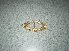 VTG Made In Czechoslovakia Scarf Ring Clip Brooch Filigree Gold/Rhinestones - $33.99