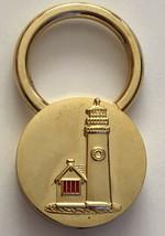 Vintage Gold Tone Round Charm Lighthouse Keychain - $13.16