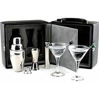 Geoffrey Beene Martini Cocktail Drink Set portable 8 pc bar black lockable H
