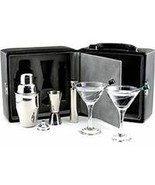 Geoffrey Beene Martini Cocktail Drink Set portable 8 pc bar black lockab... - $77.77