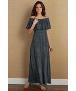 NEW Soft Surroundings Carina Dress XS Flutter Off Shoulder Maxi Cotton M... - $26.99