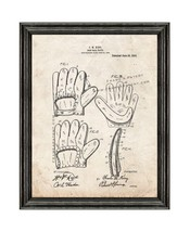 Baseball Glove Patent Print Old Look with Black Wood Frame - $24.95+