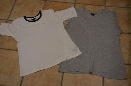 WHO WHAT WEAR LOT 2 LINEN S GREY  WHITE BLACK CREW V-NECK TEE SHIRTS T-S... - $18.00